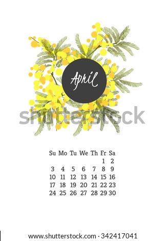 Calendar for 2016 with flowers mimosa  for your design