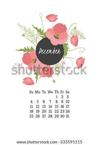 Calendar for 2016 with flowers Poppy for your design