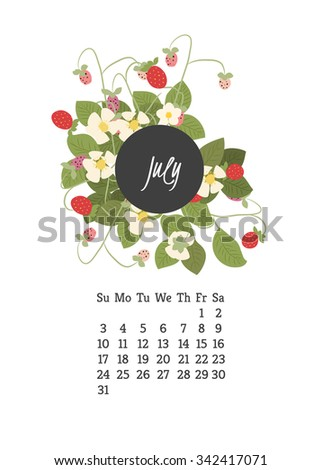 Calendar for 2016 with flowers strawberry for your design
