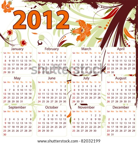 Calendar for 2012 with Grunge floral frame and butterfly, element for design, vector illustration - stock vector