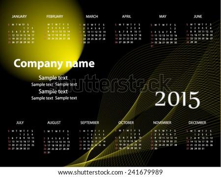 Calendar for 2015 year - stock vector