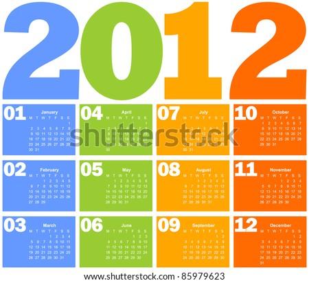Calendar for Year 2012 - stock vector