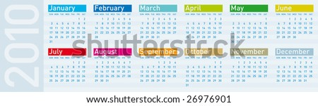 Calendar for year 2010, in vector format.