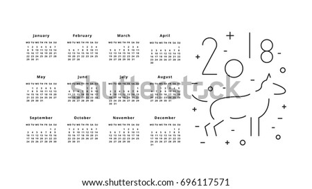 Calendar for 2018 Year on White Background. 2018 Chinese new year of Dog. Monthly calendar 2018 with outline dog. Vector illustration for planner design, cards, printing, wallpaper with dog
