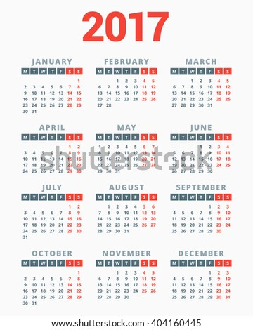 Calendar for 2017 Year on White Background. Week Starts Monday. Simple Vector Template. Stationery Design Template - stock vector