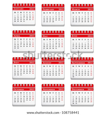 Calendar for 2013 year, vector eps10 illustration - stock vector