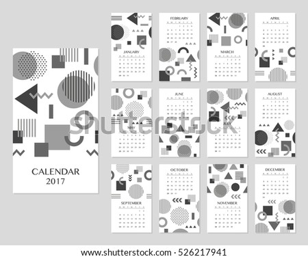 Calendar for 2017 year. Vector illustration.