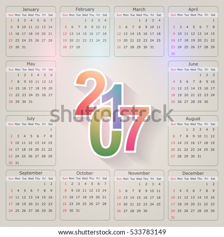 Calendar for 2017 year.Week starts sunday.Vector design template.