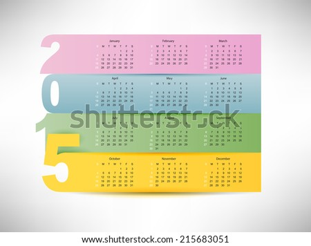 calendar for 2015 year with colorful paper background - stock vector