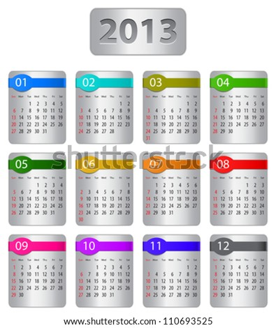 Calendar for 2013 year with colorful stickers. Vector illustration - stock vector