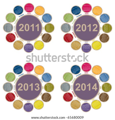 Calendar from 2011 to 2014 with flower-shaped - stock vector