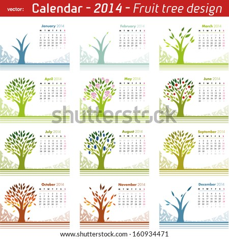 Calendar 2014 Fruit Tree Design. Vector isolated on white.  - stock vector