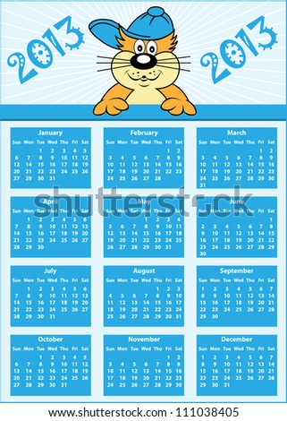 Calendar 2013 full year with cat cartoon character wearing baseball cap. Raster version also available. - stock vector