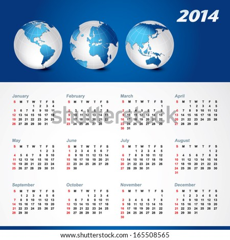 Calendar Global calendar. Vector illustration of Global map in America continent, Asia continent, Africa, Middle East and European continents view. - stock vector