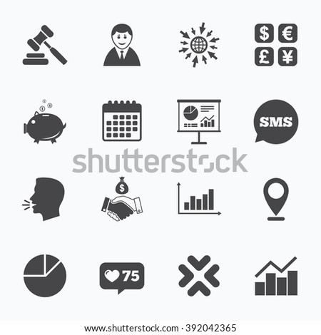 Calendar, go to web and like counter. Money, cash and finance icons. Handshake, piggy bank and currency exchange signs. Chart, auction and businessman symbols. Sms speech bubble, talk symbols. - stock vector