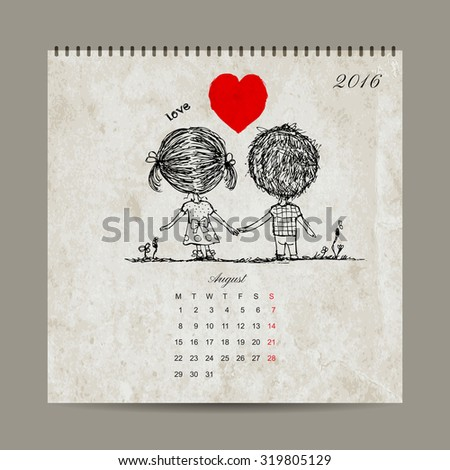 Calendar grid 2016 design, august. Couple in love together. Vector illustration - stock vector