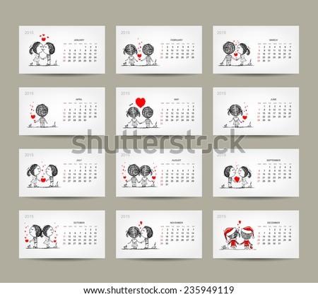 Calendar grid 2015 design. Couple in love together. Vector illustration - stock vector