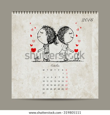 Calendar grid 2016 design, october. Couple in love together. Vector illustration - stock vector