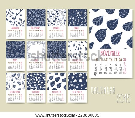Calendar grid for 2015 with different patterns - stock vector