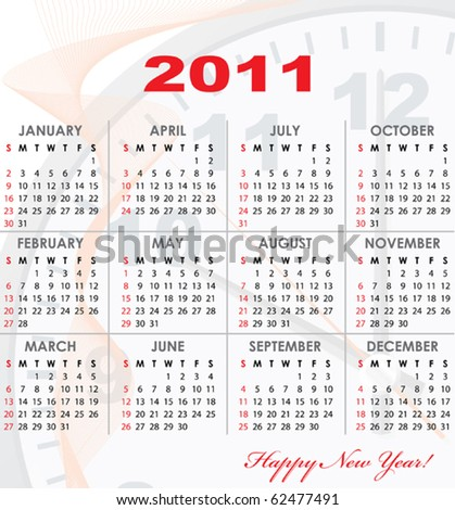 Calendar grid of 2011 year with light abstract graphics on background for your design. English variant. Vector illustration. - stock vector