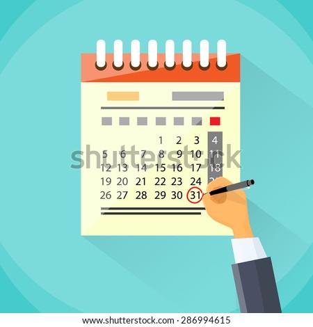 Calendar Hand Draw Pen Red Circle Date Last Day Month Deadline Flat Vector Illustration - stock vector
