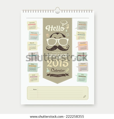 Calendar 2015, Happy Father's Day sketch design background, vector illustration - stock vector