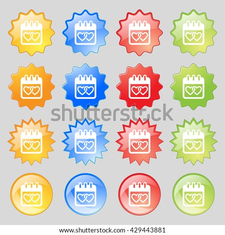 Calendar, heart, Valentines day, February 14, Love icon sign. Big set of 16 colorful modern buttons for your design. Vector illustration - stock vector