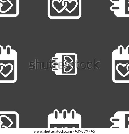 Calendar, heart, Valentines day, February 14, Love icon sign. Seamless pattern on a gray background. Vector illustration - stock vector