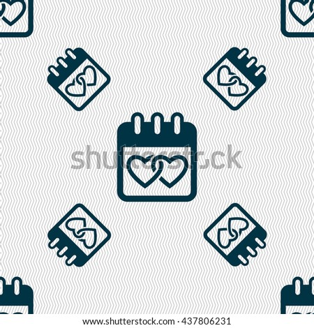 Calendar, heart, Valentines day, February 14, Love icon sign. Seamless pattern with geometric texture. Vector illustration - stock vector