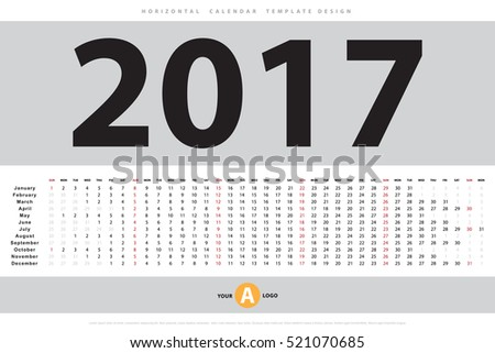 Calendar 2017 horizontal template design. Vector eps10