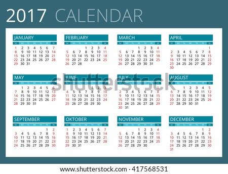 Calendar icon, Calendar 2017,