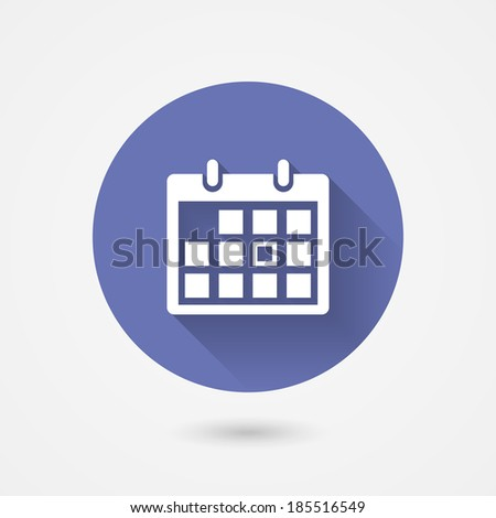 Calendar icon in a circular blue surround conceptual of time management  organization  schedule  appointments  and important events  vector icon with shadow - stock vector