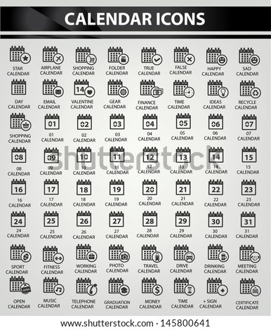 Calendar icon set,Black version,vector - stock vector