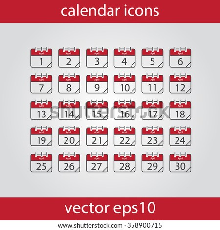 Calendar icon, vector eps10 illustration. Calendar Date.  Modern icons for your work: document, presentation, web and mobile applications, infographic,cover, poster, report, flyer. Month - stock vector