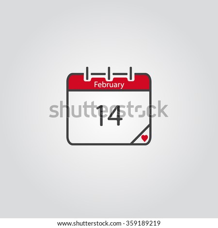 Calendar icon, vector eps10 illustration. Calendar Date.  Month February. Happy Valentine`s day. Vectror eps10 illustrations. 14 february.  - stock vector
