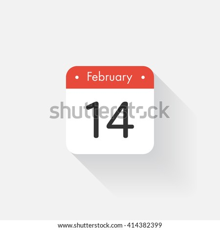 Calendar Icon with long shadow. Flat style. Date,day and month. Reminder. Vector illustration. Organizer application, app symbol. Ui. User interface sign. February.14 - stock vector