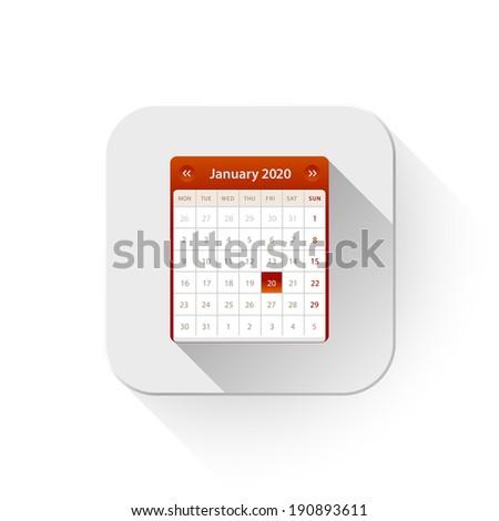 calendar icon With long shadow over app button - stock vector