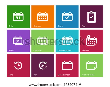 Calendar icons on color background. Vector illustration. - stock vector