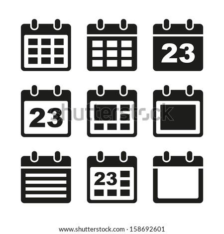 Calendar icons set. - stock vector