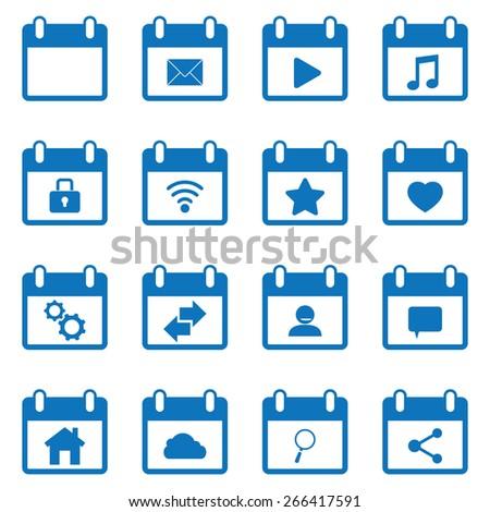 Calendar icons set - stock vector