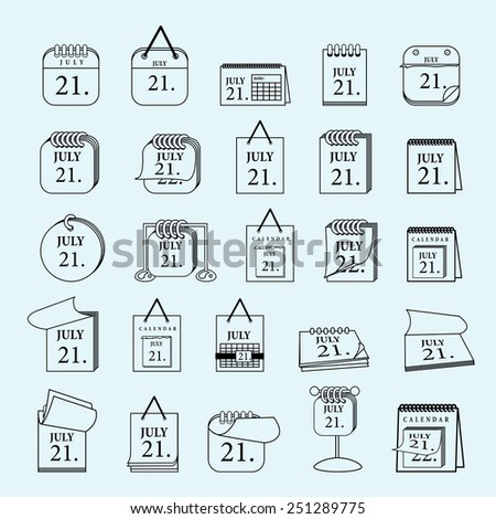 Calendar Icons Set - Isolated On Blue Background - Vector Illustration, Graphic Design, Editable For Your Design - stock vector