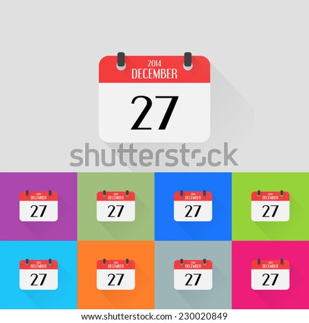Calendar icons set. Month December. Number twenty-seven. Flat design style. Made in vector - stock vector