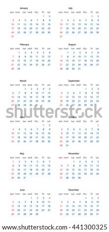 Calendar 2016 isolated on white background - stock vector