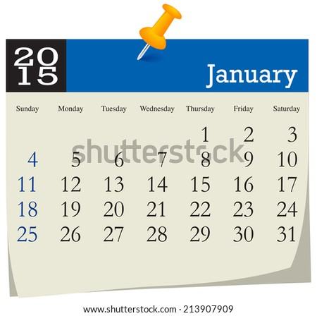 Calendar 2015 January - stock vector