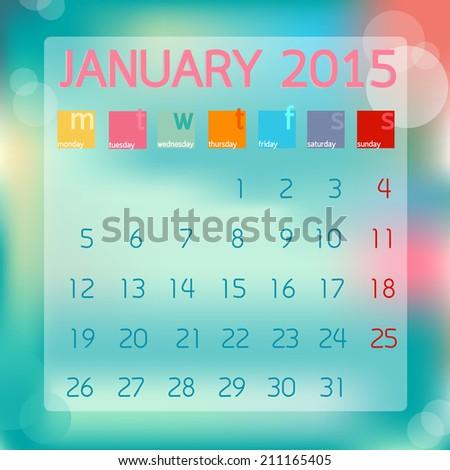 Calendar January 2015. Flat style background - stock vector