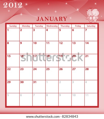 Calendar 2012 January month with large date boxes. Cartoon characters and patterned background. Raster also available. - stock vector