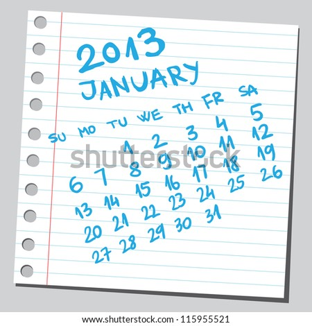 Calendar 2013 january (sketch style) - stock vector