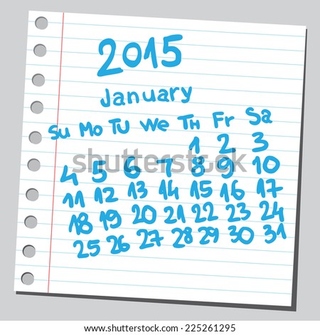 Calendar 2015 january (sketch style)  - stock vector