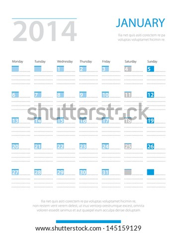 Calendar 2014, january. Vector. - stock vector