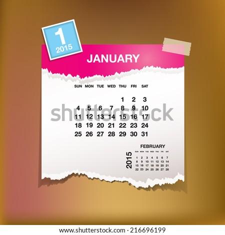 Calendar 2015 January vintage paper on grunge background  - stock vector